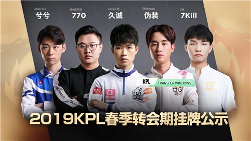 久诚领衔 KPL2019年春季赛转会期挂牌名单公示